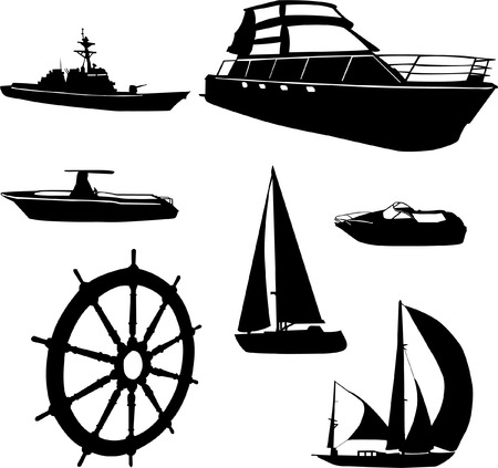 sailing yacht: boats collection   Illustration