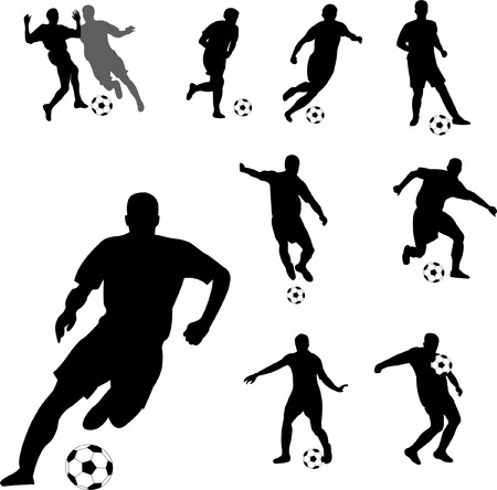 soccer kick: silhouette of soccer players  Illustration