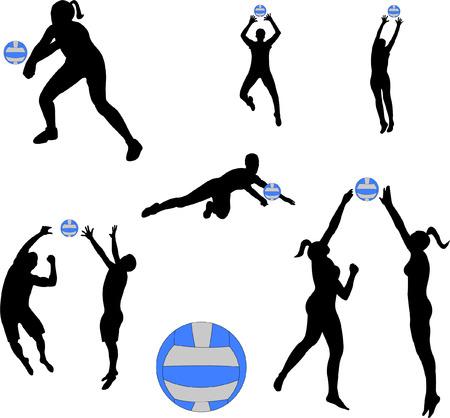 volleyball serve: siluetas de jugadores de voleibol  Vectores