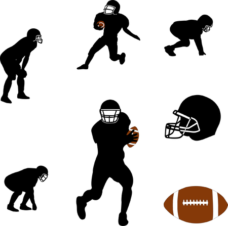 american football silhouettes collection