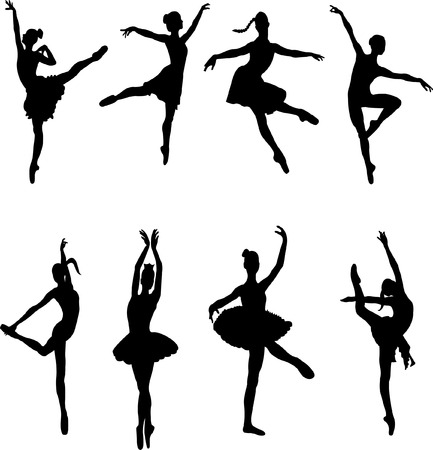 ballet dancers silhouettes  Illustration