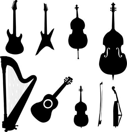 collection of stringed instruments - vector Illustration