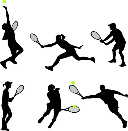 tennis serve: collection of tennis players