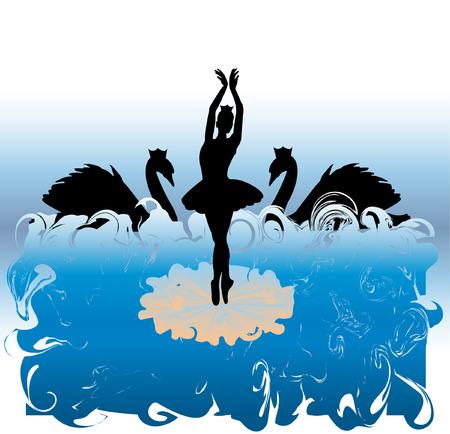 cisnes: silueta de bailarina de ballet  Vectores