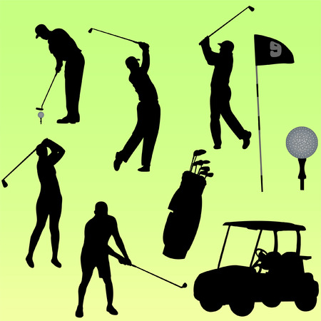 set of golf player  Illustration