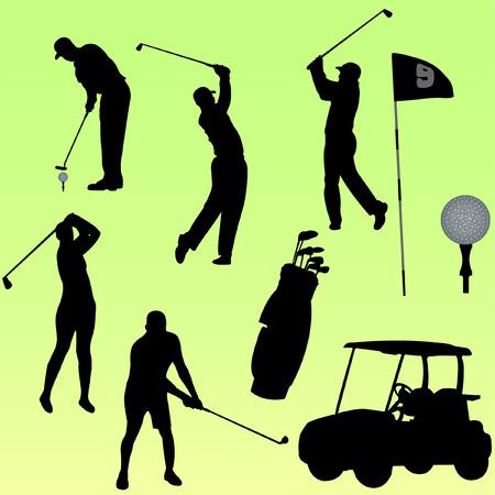 set of golf player  Illustration
