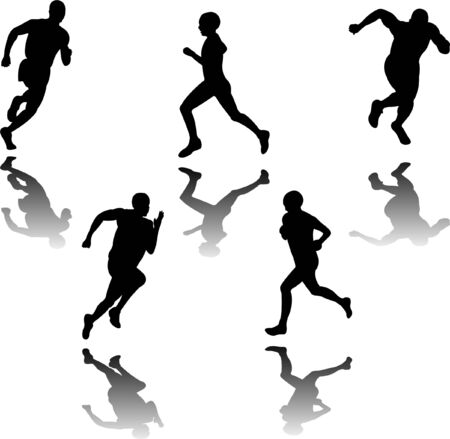 female athletes: people running silhouettes - vector Illustration