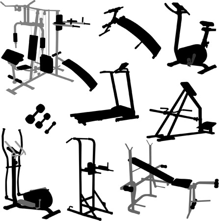 gym workout: equipos de Gimnasia - vector