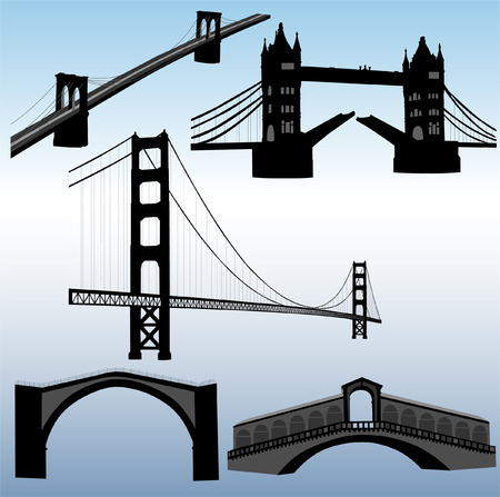 suspension bridge: silhouettes of bridges