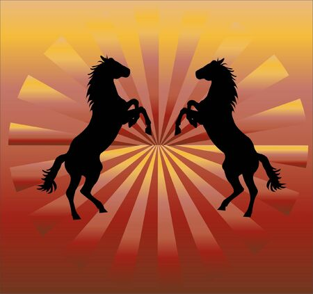 running: silhouette of horses