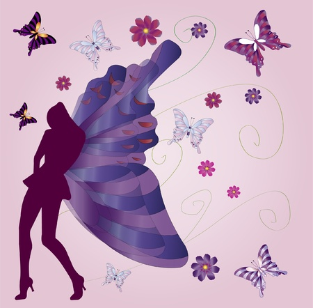 buttrefly women silhouette  Illustration