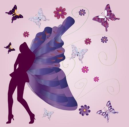 buttrefly women silhouette  Illustration