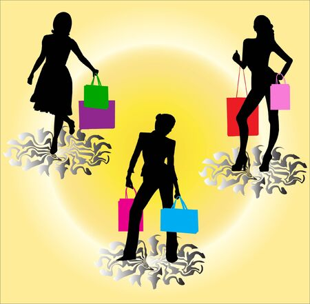 shopping girls silhouette