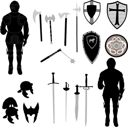 silhouette of medieval war elements
