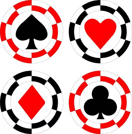 luck wheel: roulette chips - vector