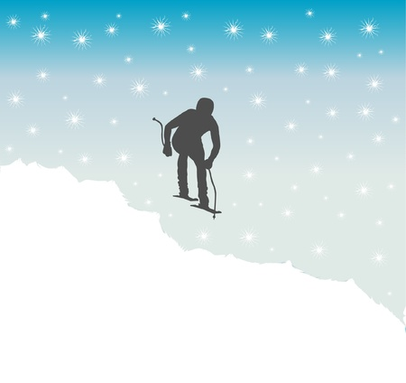 silhouette of skier with background