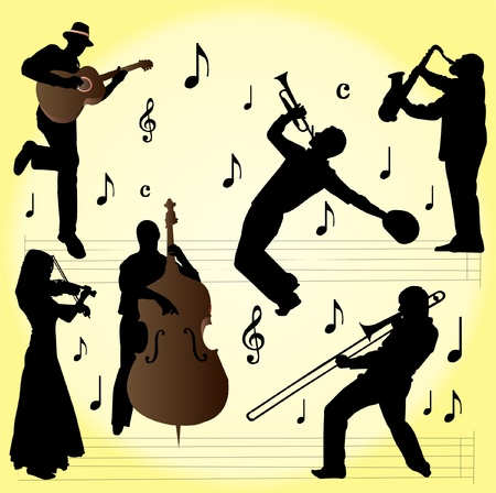 silhouette of jazz musician Stock Vector - 9458226