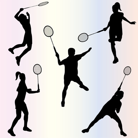 smash: silhouette of badminton players