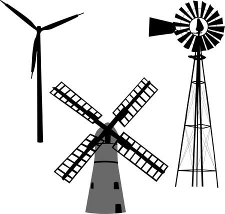 windmolens: silhouet van windmolen Stock Illustratie