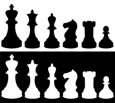 chess knight: Silhouette di pezzi degli scacchi  Vettoriali