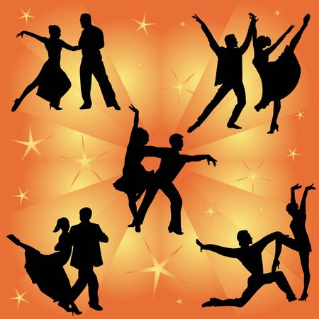 dancing couples silhouettes collection  Vector