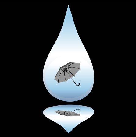 drop of rain with umbrella Stock Vector - 9517371