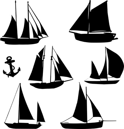 silhouette of sailboats Vector