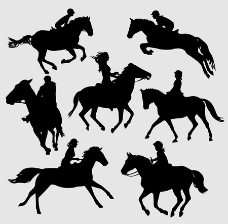 silhouettes of horse riders Stock Vector - 9559789