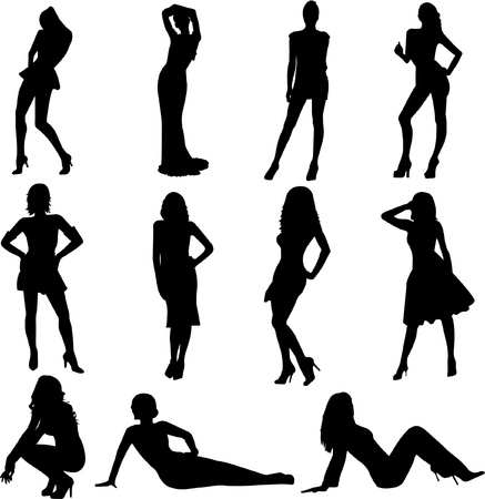 Silhouettes of sexy girls