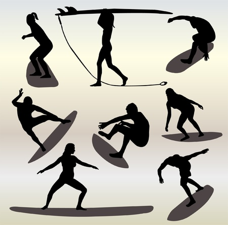wind surfing: silhouettes of surfers Illustration