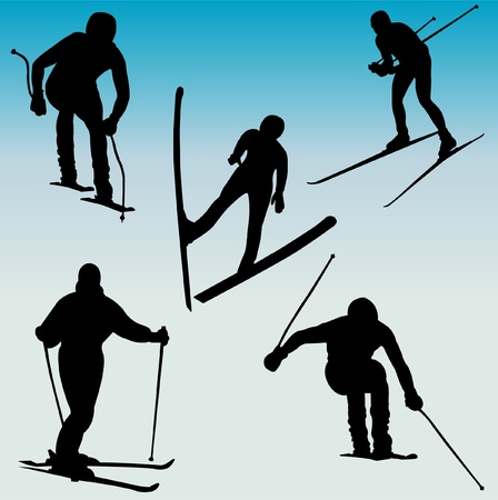 silhouettes of skiers  Illustration