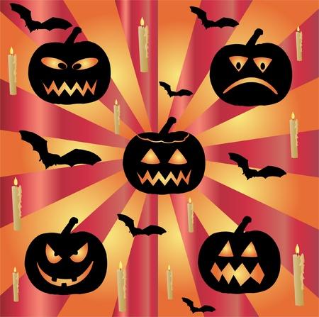 halloween vector with pumpkin and bats