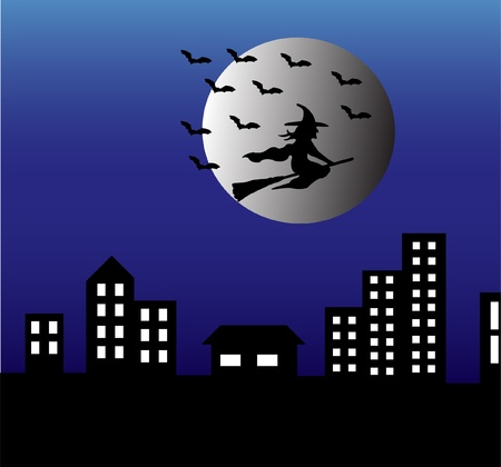 witch and city silhouette for halloween - vector