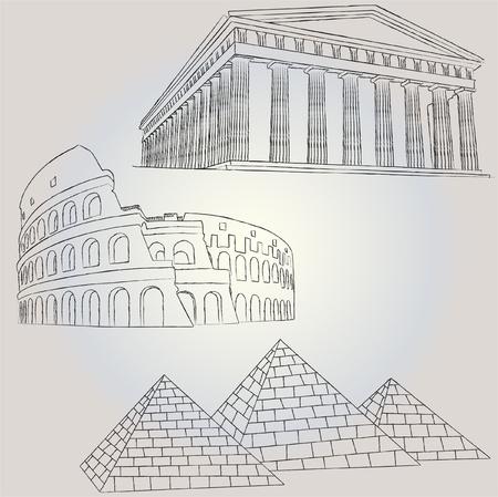 colosseo: edifici famosi 1 Vettoriali
