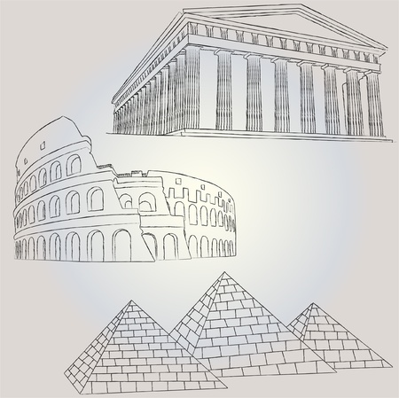 famous buildings 1 Vector