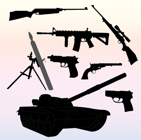 silhouettes of weapons - vector Vector