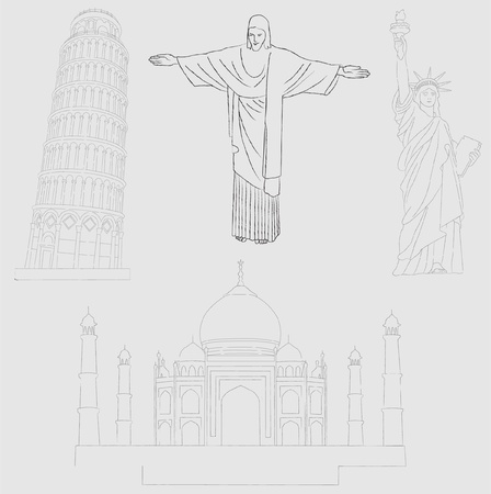 famous buildings 2 - vector Vector