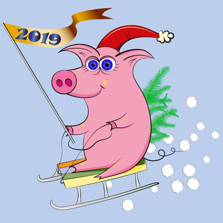 The New Year pig with New Year tree with sled Archivio Fotografico - 134374649