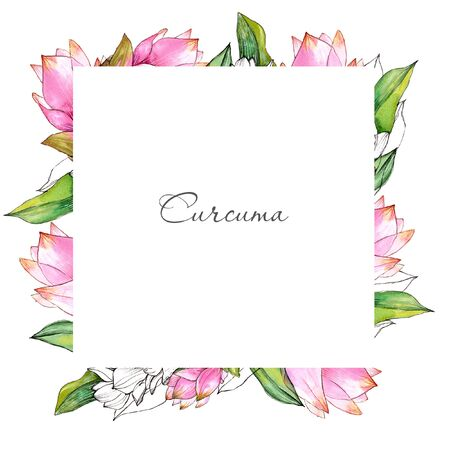 Watercolor flowering curcuma frame on light backdrop.
