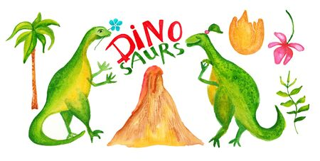 Cute dinosaurs set with volcano, eggshell, palm, flower and leafs. Isolated on the white background. Watercolor illustration. For a childlike illustration or postcard.
