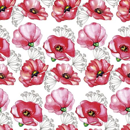 Seamless pattern of red watercolor hand drawn poppy flowers