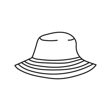 Simplified outline illustration of a summer panama on a white background. 向量圖像