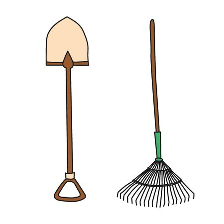 Garden shovel and rake. Hand drawn simple icon. 일러스트