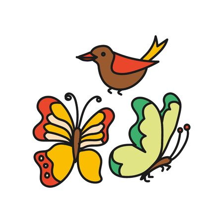 Set of butterflies and birds color simple on a white background.