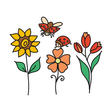 Set of flowers and ladybug color simple.