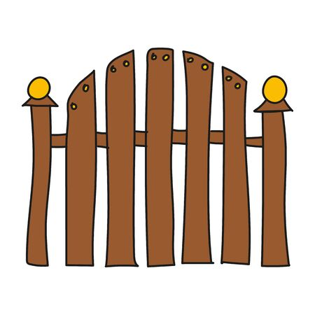 Fence colored vector illustration, modern minimal doodle design style.