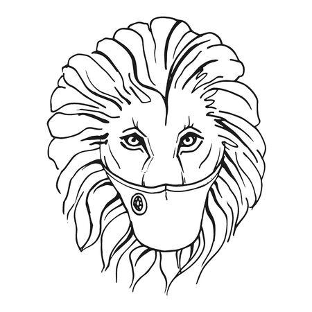 A lion in a protective medical mask. Vector outline illustration. 矢量图像
