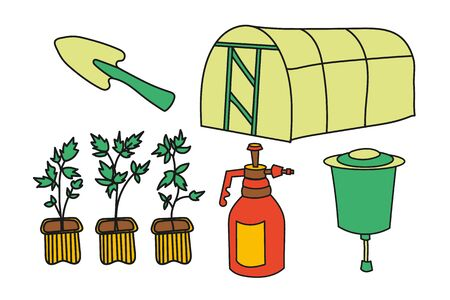 Simplified colored vector set illustration of a greenhous, seedlings, spray bottle, washbasin and small shovel on a white background.