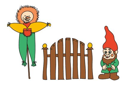 Set of simplified colored illustration of a garden scarecrow, garden gnome and fence on a white background.