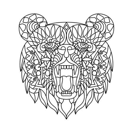 Ethnic pattern in the form of a bears head. An animal with its mouth open. Black and white Doodle vector illustration. Sketch for a tattoo, poster, print, or t-shirt.